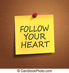 follow your heart words on post-it