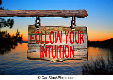 Follow your intuition motivational phrase sign on old wood...