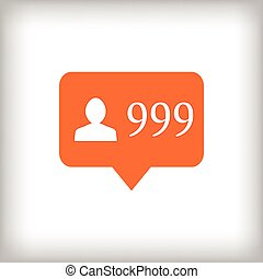 Followers orange icon. 999 followers. - Followers orange...