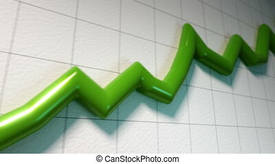 Following a growing green line graph.