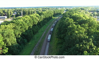 Following a train with carriages travels on railroad tracks among the green trees on a long turn.