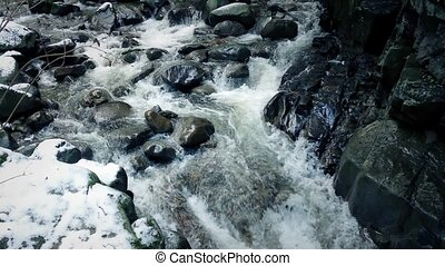 Following An Icy River Down Mountainside - Panning across...