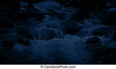 Following River Top To Bottom At Night
