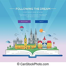 Following the dream - vector line travel illustration