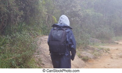 Following to tourist girl with backpack that walking along tropical forest. Hiking woman in raincoat going in wet wood. Female traveler stepping on the jungle path at mountain. Rear back view