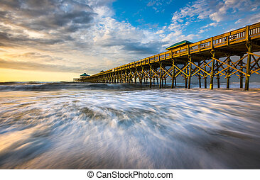 Folly Beach Pier South Carolina Sunrise Ocean Scenic Seascape Photography
