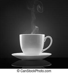 folyékony, csésze, csípős, fekete, fehér, gőz
