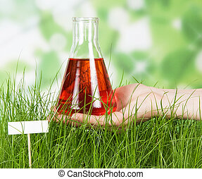 folyékony, flaska, ellen, kémiai, zöld fű, kísérleti