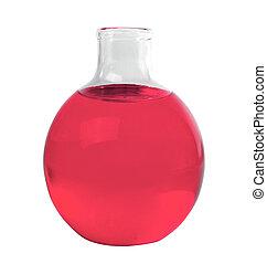 folyékony, flaska, elszigetelt, kémiai, zöld, laboratórium