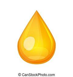 folyékony gold, le., drib, concept., csepp, repülés, vektor, cseppecske, elszigetelt, sárga, ábra, olaj, white., méz