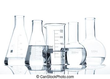folyékony, klasszikus, világos, palackok, öt, laboratórium