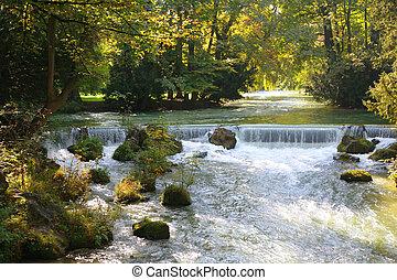 folyó, a parkban