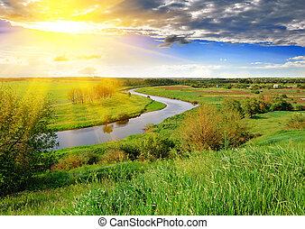 folyó, eredet, este, kaszáló