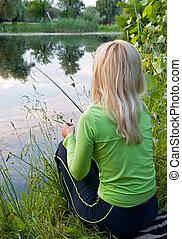 folyó, fisherwoman