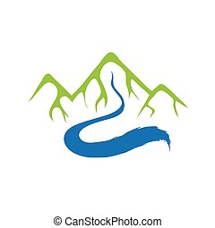 folyó, hegy, vektor, jel