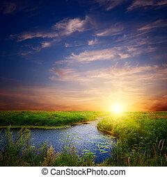 folyó, napnyugta