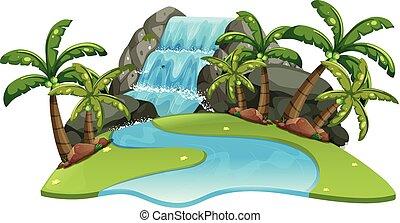 folyó, vízesés, színhely