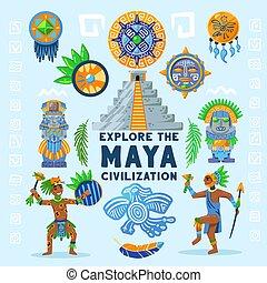 folyamatábra, civilizáció, maya, háttér