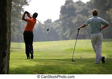 folyik, ember, golf elfordul