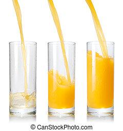 folyik juice, elszigetelt, pohár, narancs, fehér