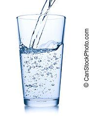 folyik víz, bele, pohár