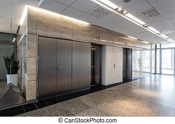 folyosó, és, lift