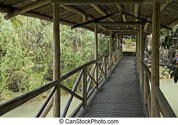 folyosó, közül, wooden bridzs