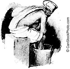 Fomentation to the spine and hot foot bath combined, vintage engraved illustration.