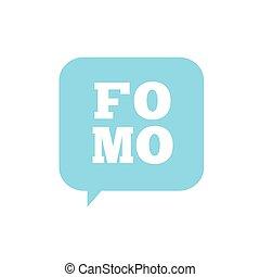 fomo, 欠けている, 頭字語, 媒体, 現代, -, 社会, 最新流行である, 恐れ, アイコン, から