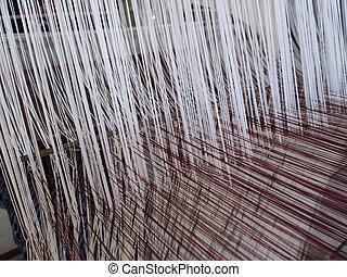 fonás, befűz, helyett, a, textilipar