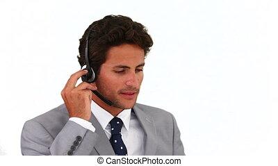 foncé-d'une chevelure, téléphone, conversation, homme affaires
