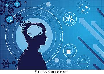 fonction, cerveau, concept, humain