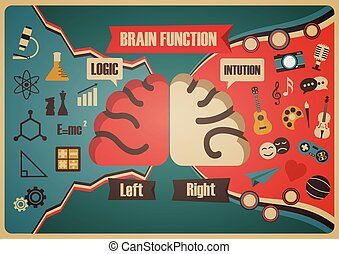 fonction, cerveau, retro, diagramme