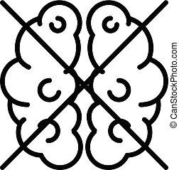 fonction, style, contour, non, cerveau, icône