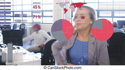fonctionnement, 4k, données, bureau, financier, femme