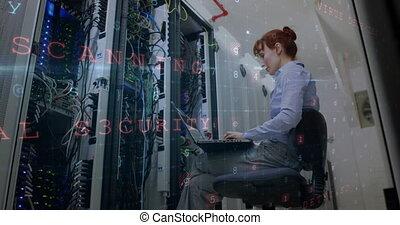 fonctionnement, 4k, salle, données, serveur, femme