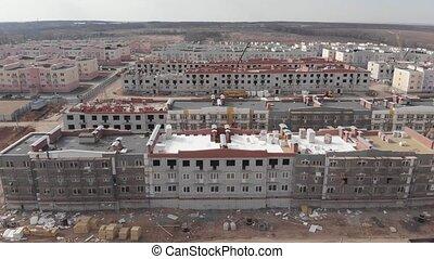 fonctionnement, aérien, plusieurs, bâtiment, 4k, site, grand, inclure, grues, secteur, construction, moule, vue