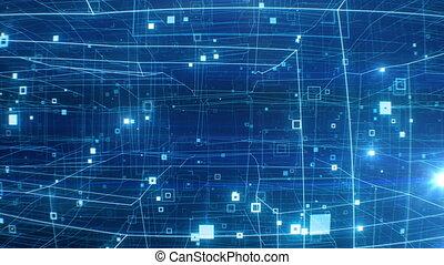 fonctionnement, animation, grille, 4k, par, résumé, ultra, réseau, numérique, concept., hd, fait boucle, seamless., éclats (flares), 3840x2160, vol, beau, 3d, bleu, internet, structure., technologique