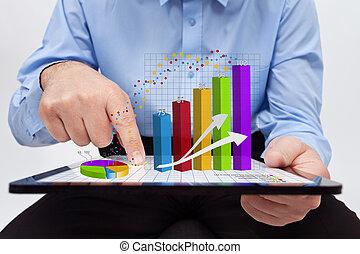 fonctionnement, annuel, -, diagrammes, closeup, rapport, homme affaires