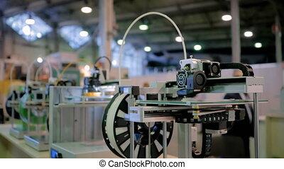 fonctionnement, automatique, trois dimensionnel, exposition, 3d, technologie, machines, rang