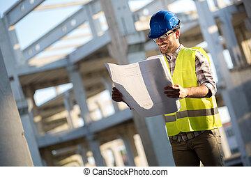 fonctionnement, bâtiment, ingénieurs, site