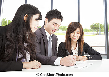 fonctionnement, bureau affaires, équipe, asiatique