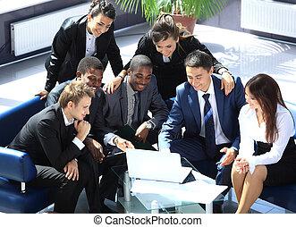 fonctionnement, bureau affaires, moderne, équipe, heureux
