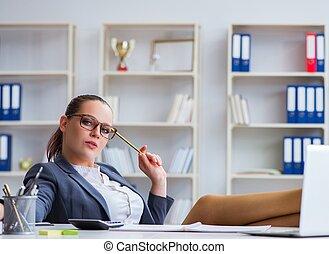 fonctionnement, bureau, femme affaires, bureau