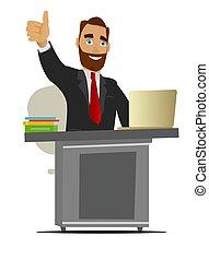 fonctionnement, bureau., isolé, illustration, arrière-plan., homme affaires, blanc