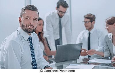 fonctionnement, business, homme affaires, tient, team., réunion