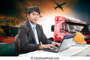 fonctionnement, business, logistique, transport, exportation, homme, importation, tout