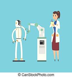 fonctionnement, caractère, robot, laboratoire, dessin animé, scientifique, vecteur, illustration, femme, bras mécanique