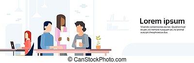 fonctionnement, centre, espace bureau, ouvert, gens, coworking, bannière
