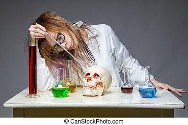 fonctionnement, chimiste, crâne humain